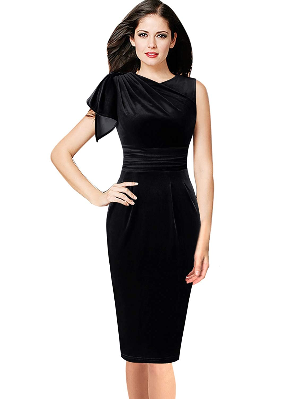 New Black Velvet VfEmage Women's Celebrity Elegant Ruched Wear to Work Party Prom Bodycon Dress
