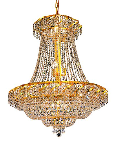 Belenus 18 Light (ECA2 Belenus Collection Hanging Fixture D30in H38in Lt:18 Gold Finish (Royal Cut Crystals))