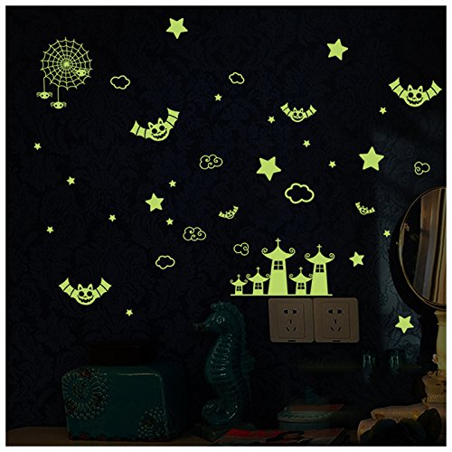 [BIBITIME DIY Glow in the Dark Night Star City Halloween Spider Flying Bat Sticker Luminous Wall Decals Vinyl Quote Decor for Kids Baby Bedroom Pub] (Diy Halloween Decor)