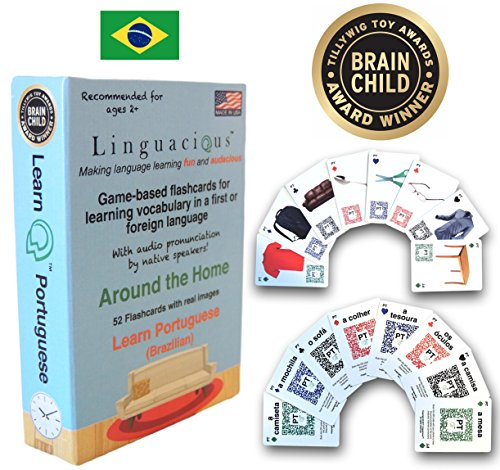 Award-Winning AROUND THE HOME PORTUGUESE Flashcard Game - The ONLY One with Audio! (Card Portuguese)