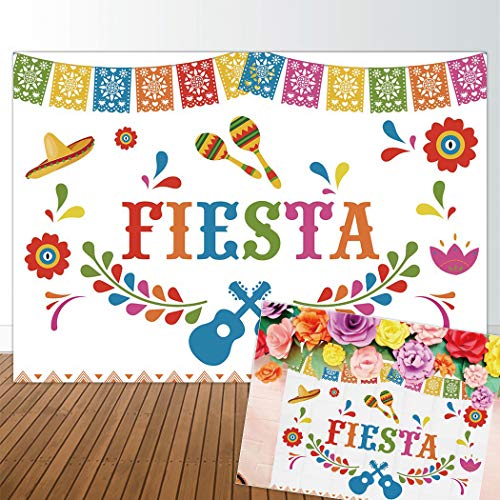 (Allenjoy 7x5ft Mexian Fiesta Theme Backdrop for Photography Summer Birthday Party Banner Pictures Studio Props Mexico Colorful Flag Banner Decor Decoration Photo Shoot Booth)