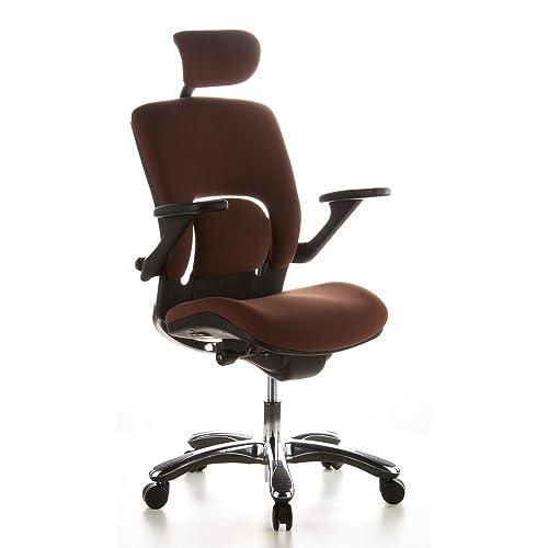 Hjh OFFICE 652010 Chaise De Bureau Haut Gamme Fauteuil Direction VAPOR LUX Caf