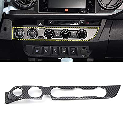 Interior Air Conditioning Button Panel Cover Trim Car Accessories for Toyota Tacoma 2016 2020 2020 2020 (Carbon Fiber) (Carbon Fiber, High-Equipped (with Start Stop Switch Button)): Automotive