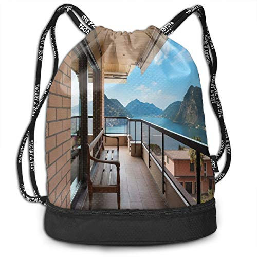 Drawstring Backpack bags, Lugano Lake Panoramic View From The Terrace Of Apartment Mountains And Sea