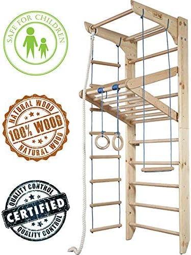 MebliLine del fabricante! KN-4-220 - Barras de pared suecas para escalera de madera, marco de gimnasia, equipo de entrenamiento en casa, puerto duradero, barra de madera: Amazon.es: Deportes y aire libre