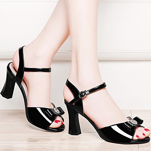 KPHY-Una Hebilla Zapatos De Tacon Alto Hembra Verano Zapatos Sandalias Todo El Partido Con Boca Grueso black