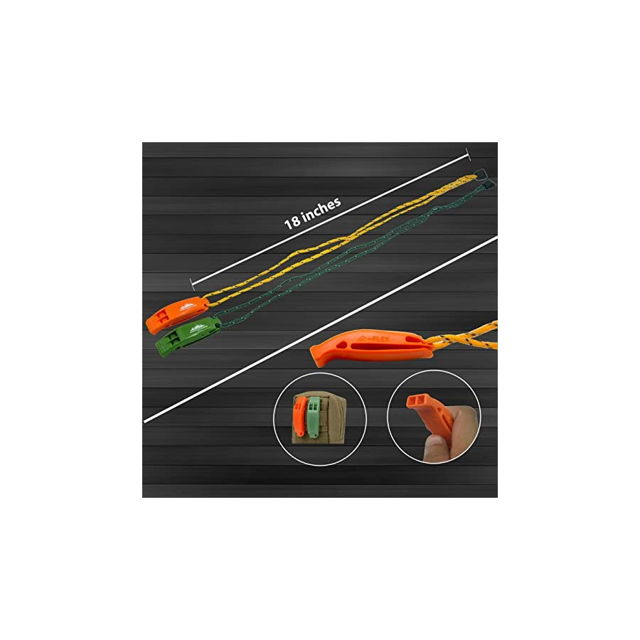VnSupertramp Emergency Whistle with Long Lanyard 18 Inches and Large Clip Premium ABS Plastic Super Loud for Boating Kayaking Hiking with Exclusive Survival E book Included (2 Pack/4 Pack)