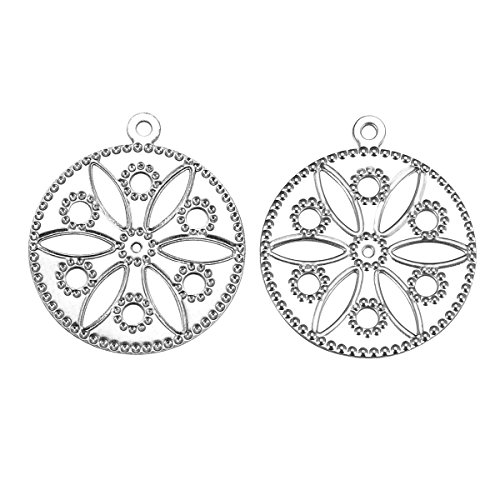 (HooAMI 30pcs Stainless Steel Flower Round Charm Pendants Jewelry Making Findings)