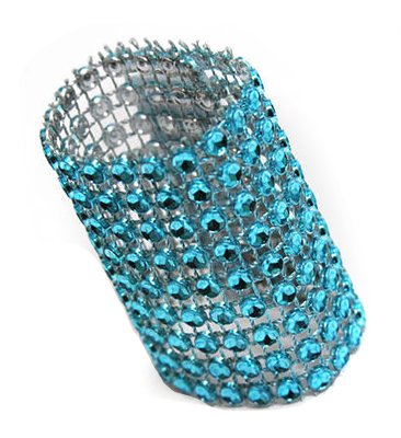 """50 Pk, Rhinestone Velcro Sash Clip / Napkin Ring Approx. 1.75""""W x 4.50""""L; Material: Plastic Decoration Mesh with diamond studded w/Velcro sewn in the back - Turquoise"""
