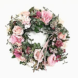 Adeeing Wreath, Artificial Flower Wreath Garland Floral Rose Rattan Small Wreath Garland for Home Wall Door Wedding Party Decor, 12 Inch 105