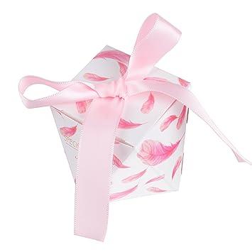 50piezas(5.5*5.5*6cm) Cajas de Boda Bautizo Regalo Caramelos Bombones Chuches Peladillas Recuerdo Fiesta Cumpleaños Pluma Rosada impresa + Cinta: Amazon.es: ...