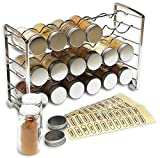 DecoBros Spice Rack Stand holder + 18 bottles + 48 Labels Chrome