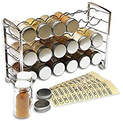 Decobros Spice Rack Stand Holder With 18 Bottles & 48 Labels, Chrome