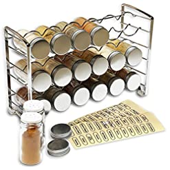 Kitchen DecoBros Spice Rack Stand holder with 18 bottles and 48 Labels, Chrome spice racks
