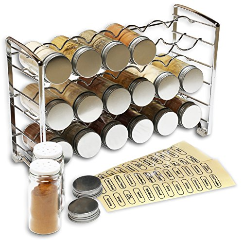DecoBros Spice Rack Stand holder with 18 bottles and 48 Labels, Chrome (Crisscross Wine Rack)