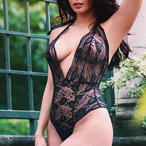 Amazon.com: Clearance! Womens Sexy Lingerie,Dainzuy Lace Halter Straps High-Rise Underwear Uniforms Temptation Underwear Bodysuit (XL, Black): Home Audio & ...