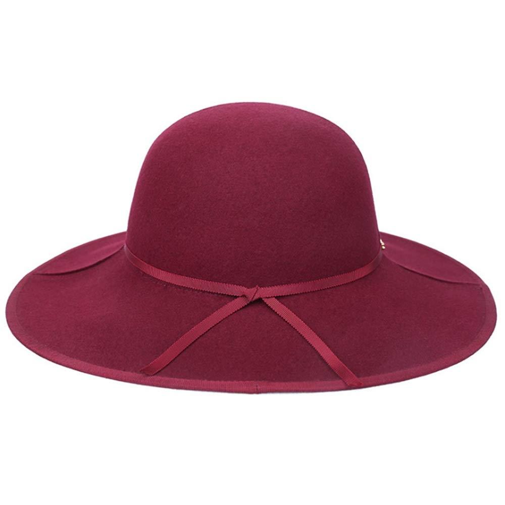 Maroon Simple Ribbon Design Ladies Floppy Wide Brim Wool Felt Cloche Fedora Hat Church Bowler Hats Derby Party Fashion Winter Women Casual Soft Classic Cap Fashion