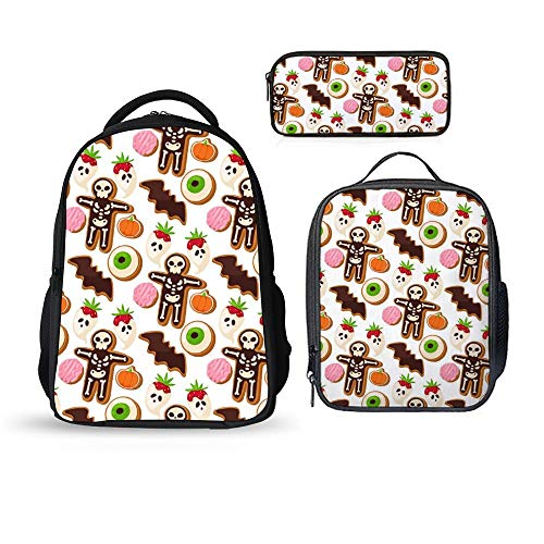 SARA NELL School Bags School Backpack Halloween Cookie Mummy 3pcs Kids Book Bag Lunch Bags Pen Case Bag For Boys Girls]()