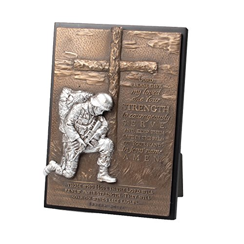 Lighthouse Christian Products Moments of Faith Soldier Rectangle Sculpture Plaque, 4 1/2 x 6 1/2