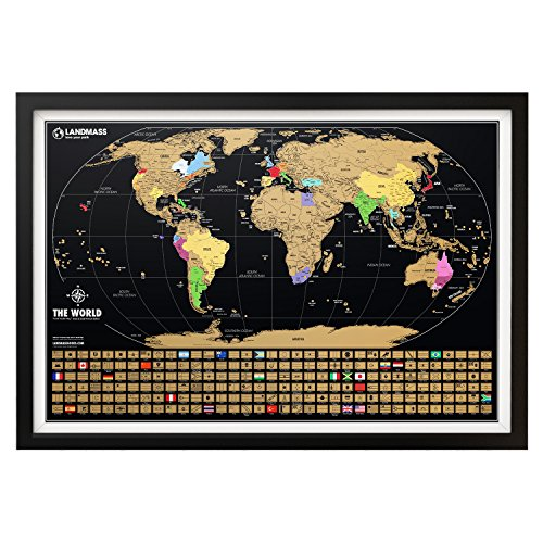 Landmass Extra Large Scratch Off World Map Poster - Made in The USA - Travel Map with Flags - Scratch Off Map of The World with Detailed Cartography and Vibrant Colors - Perfect Gift - 24 x 36 Inches (World Christmas Island Map)