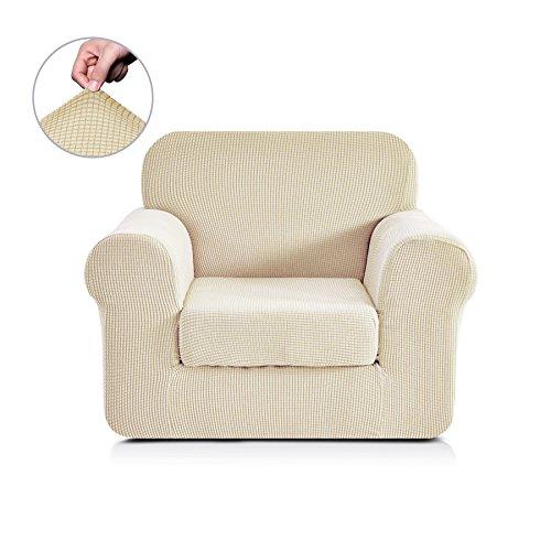 Chunyi 2-Piece Jacquard Polyester Spandex Sofa Slipcover (Chair, Ivory white)