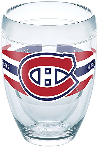 Tervis 1265572 NHL Montreal Canadiens Select Tumbler with Wrap 9oz Stemless Wine Glass, Clear