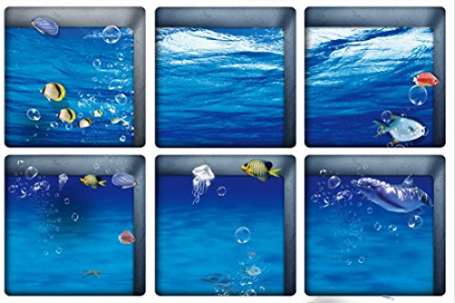 - Fullkang 6pcs 13x13cm Water Shadow Pattern 3D Anti Slip Waterproof Bathtub Sticker (9#)