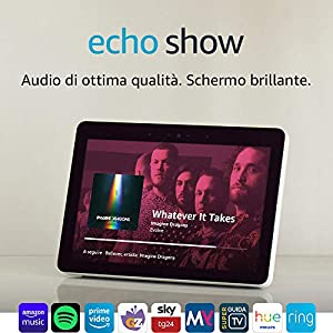 """Echo Show (2ª generazione) – Audio di ottima qualità e brillante schermo HD da 10"""" – Bianco + Lampadina Philips Hue White"""