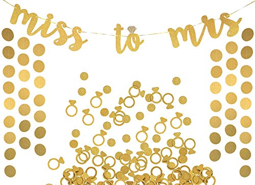 Miss to Mrs Banner, Garland & Confetti Set - Bachelorette, Engagement or Wedding Party Decorations - Sparkly Gold Banner, Circle Garland & Super Fun Diamond Ring & Circle Confetti by Bachelorette to Bride