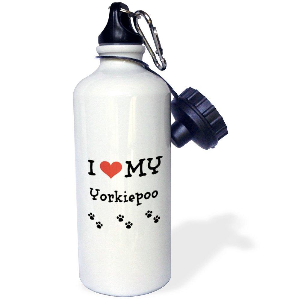 3dRose Love My-Yorkiepoo-Sports Water Bottle, 21oz (wb_183651_1), Multicolored