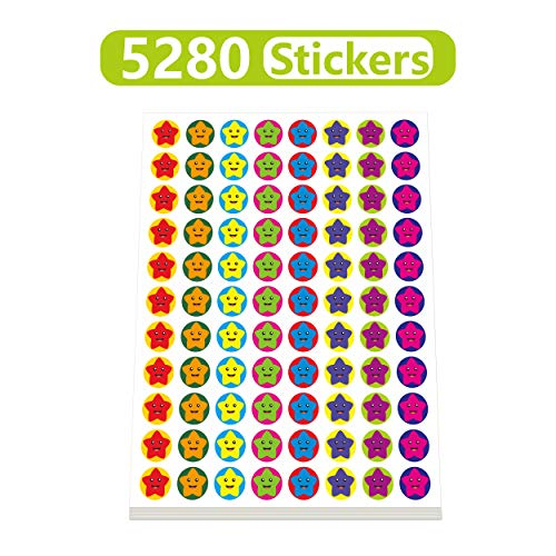 Mini Star Stickers Mega Bundle 5280 PCS in 8 Colors for Reward Behavior Chart 3/8 inch