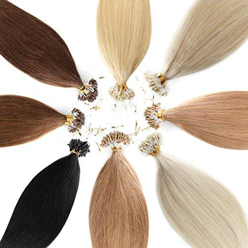 Microring Echthaar / Loop Extensions 100% Remy Echthaar Haarverlängerung (#613 HELLLICHTBLOND - 25 x Strähnen - 0,5g - 50cm)
