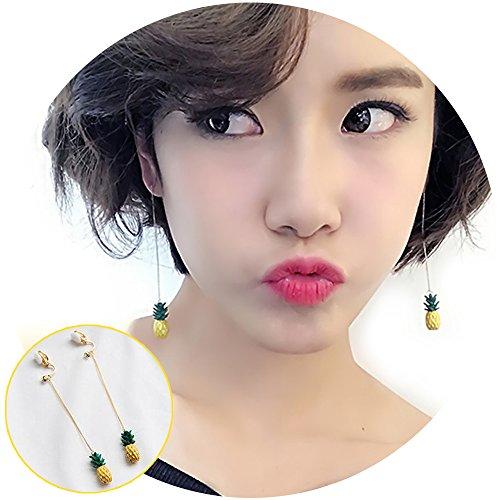 3d Fruit Costume (Aifeer Tassel Threader 3D Fruit Pineapple Drop Earrings Clip On Ear Cuffs No Piercing Dangle Long Chain Ear Line)