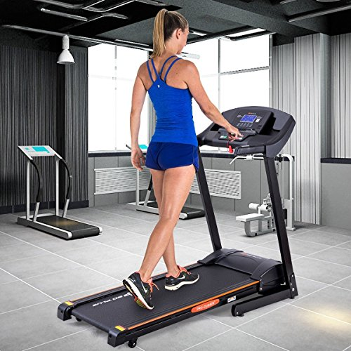 Goplus 2.5HP Folding Treadmill Electric Incline Jogging Running Fitness Machine w/ App Control, Large LCD Display