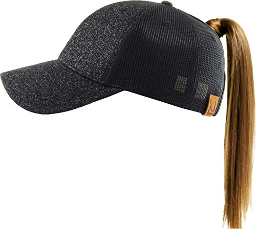 PONY-006M BLK Glitter Ponytail Messy High Bun Headwear Adjustable Cotton Trucker Mesh Hat Baseball Cap