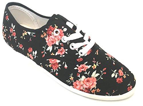 Womens Canvas Lace Up Shoes 324 Black Flower 9