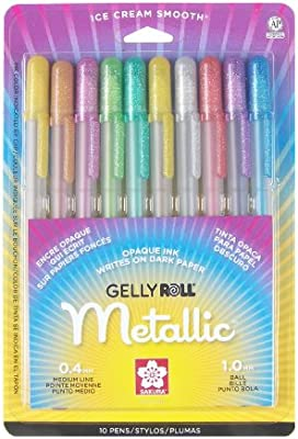 Gel Pen,Water/Fade Proof,1.0mm,Med. Line,10/PK,Metallic Ast, Sold as 1 Package: Amazon.es: Oficina y papelería