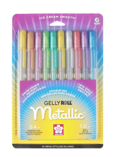 sakura-57370-10-piece-gelly-roll-blister-card-assorted-colors-metallic-gel-ink-pen-set