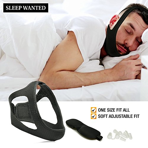 Improved Anti Snoring Chin Strap for Jaw. New Perforated Design Makes It More Breathable. Includes Bonus Eye Mask and Nose Vents for Ultimate Chin Supporter Sleep System. Stops Snoring Instantly