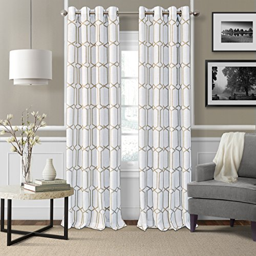 Elrene Home Fashions Kaiden Geometric Room Darkening Grommet Linen Window Curtain Drape Panel, 52 W x 95 L 1 , Taupe