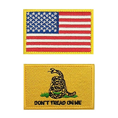 Axe Sickle (2x3 Inches) Don't Tread on Me Flag - Tactical USA Flag Patches, Military Patch / Morale Patch - 2 Pieces! Sickle Flag
