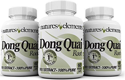 Natures Elements Dong Quai Extract - PACK OF 3-180 Veggie Caps - Standardized 10:1 Extract - 1% Ligustilide - 3 Month Supply - (Angelica Sinensis) ()