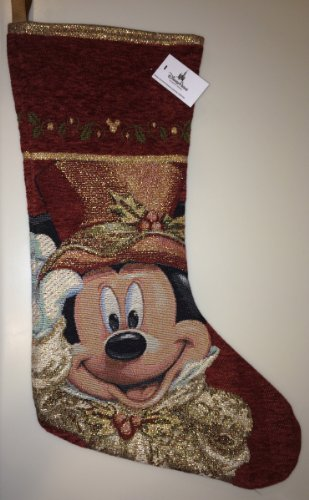 Stocking Christmas Tapestry (Disney Park Mickey Mouse Tapestry Victorian Christmas Holiday Stocking NEW)