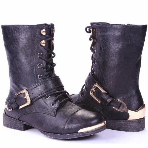 Women Buckle Strap Faux Leather Side Zipper Chunky Stacked Heel Knee High Buckle Riding Boots Black fdproLon