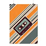 Shower Curtain 72 X 72 Inch Old Tape Cassette Retro Music Printing Polyester Fabric