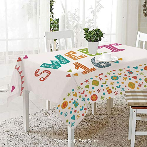 (FashSam Tablecloths 3D Print Cover Party Flag Anniversary Cute Doodle Style Hand Drawn Retro Pattern Party Home Kitchen Restaurant Decorations(W60)