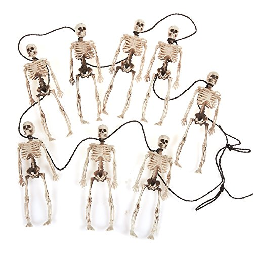Skeleton Garland - Halloween Decoration - Minature Plastic Skeletons on a String - Great Banner for Halloween and Day of The Dead, 6 Feet Long, White, Brown