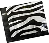 "Custom Made & Disposable {6.5"" Inch} 16 Count of 2 Ply Mid Size Square Food & Beverage Napkins, Made of Soft Absorbent Paper w/ Vibrant Eco Zebra Animal Print Classic Style {Grey, Black & White}"