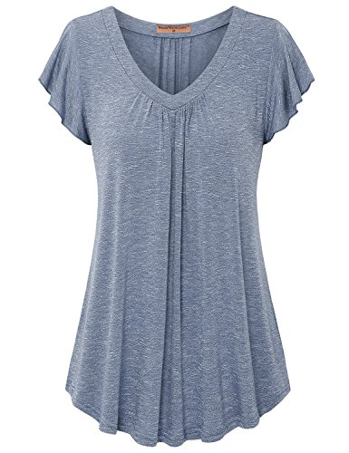 Meow Meow Lace MML Women's V Neck Pleated Short Sleeve Blouse Top Tunic Shirt Blue XL