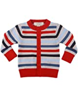 Richie House Little Boys' Red and Blue Striped Button Sweatshirt